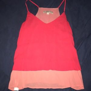 Coral, two toned, lined LOFT cami